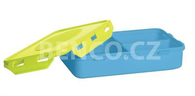 Svačinový box 0,9 litrů - barevný s klipy